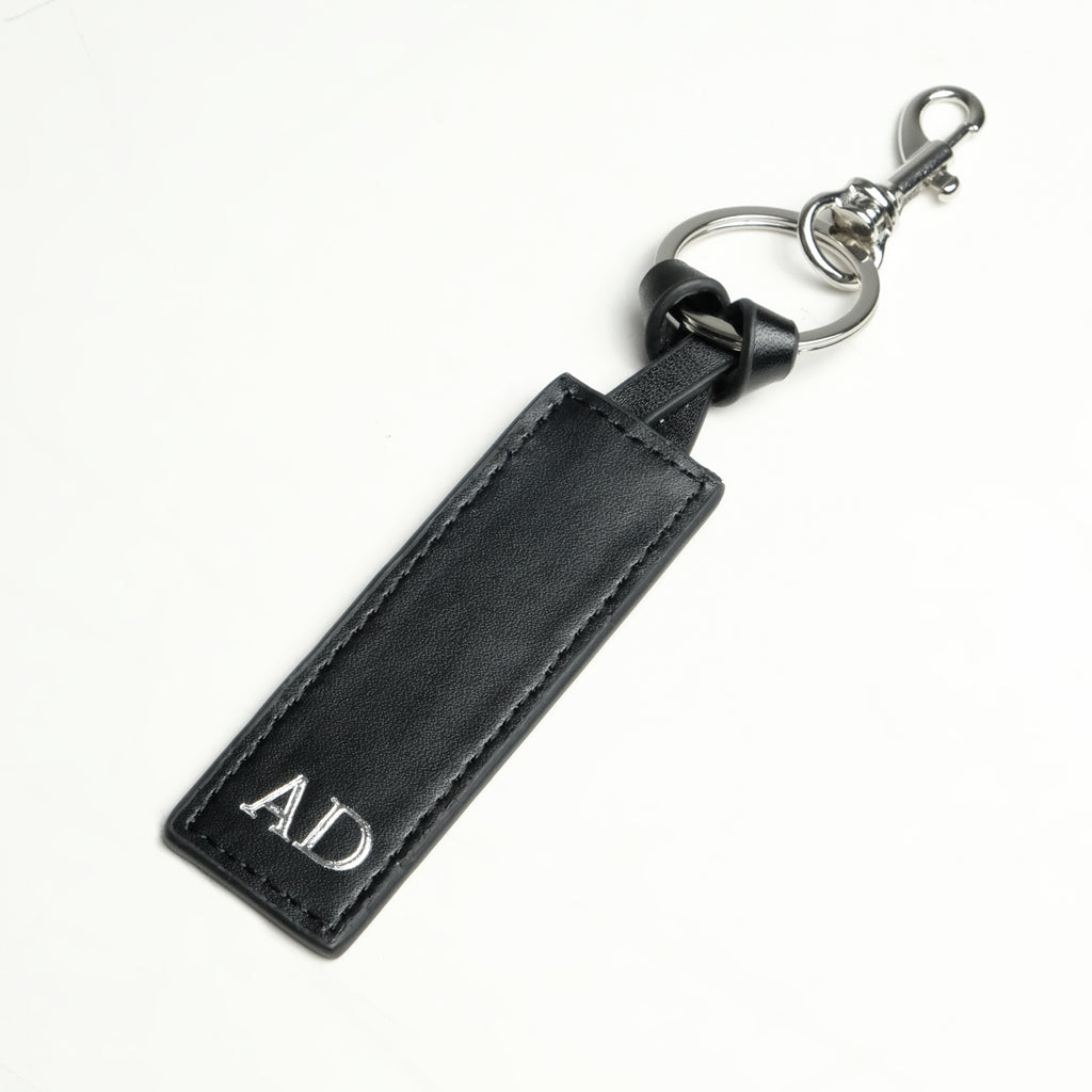 Black Smooth Silver Keychain