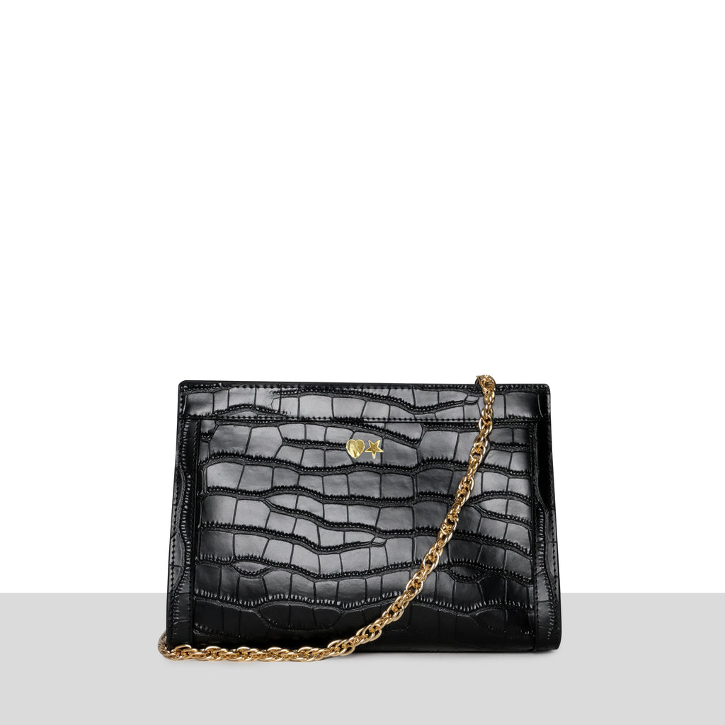 Black Croc Chain Strap Evening Bag