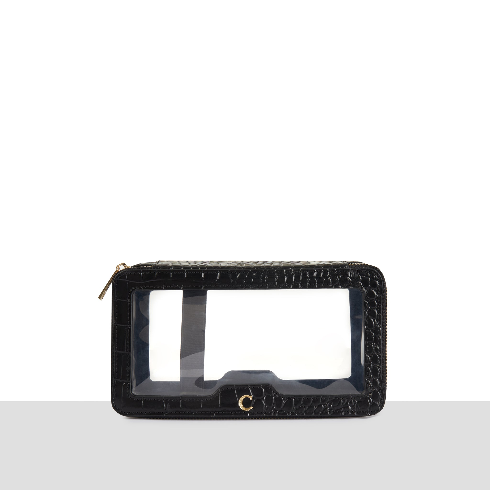 'Helsinki' Black Leather Croc Double Zip Perspex Wash Bag