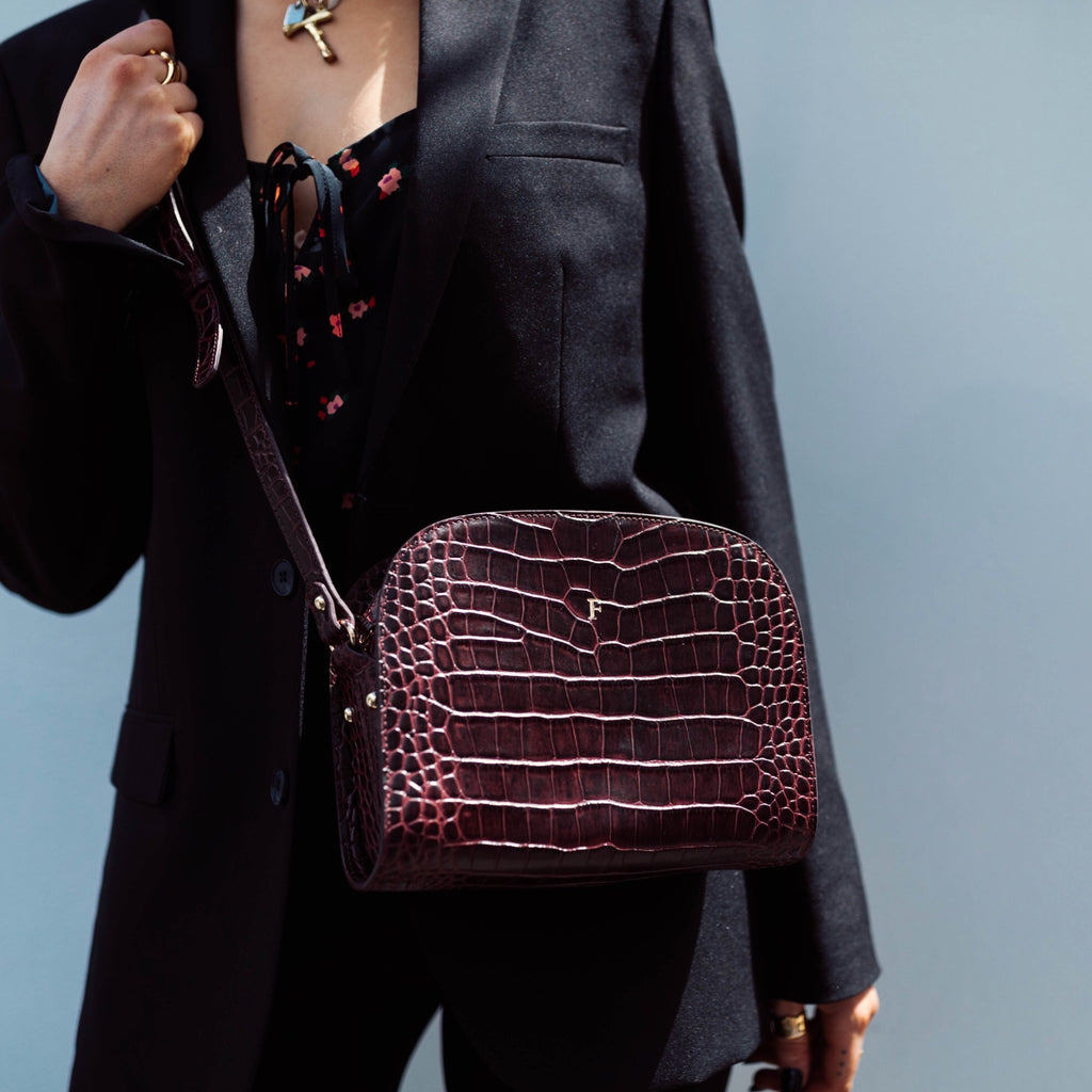 Athens Bag in Chocolate Croc