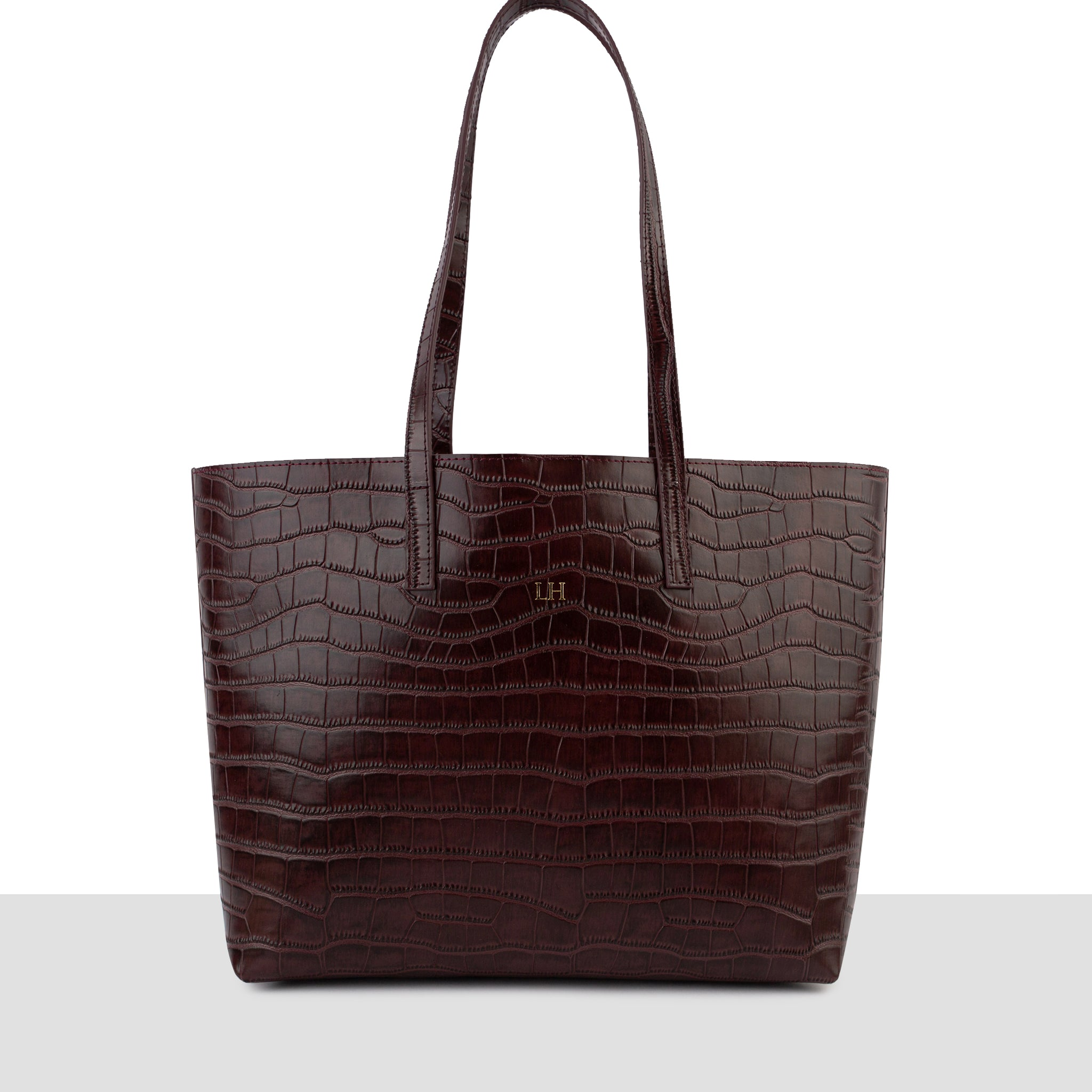 'Stockholm'  Chocolate Leather Croc Tote Bag