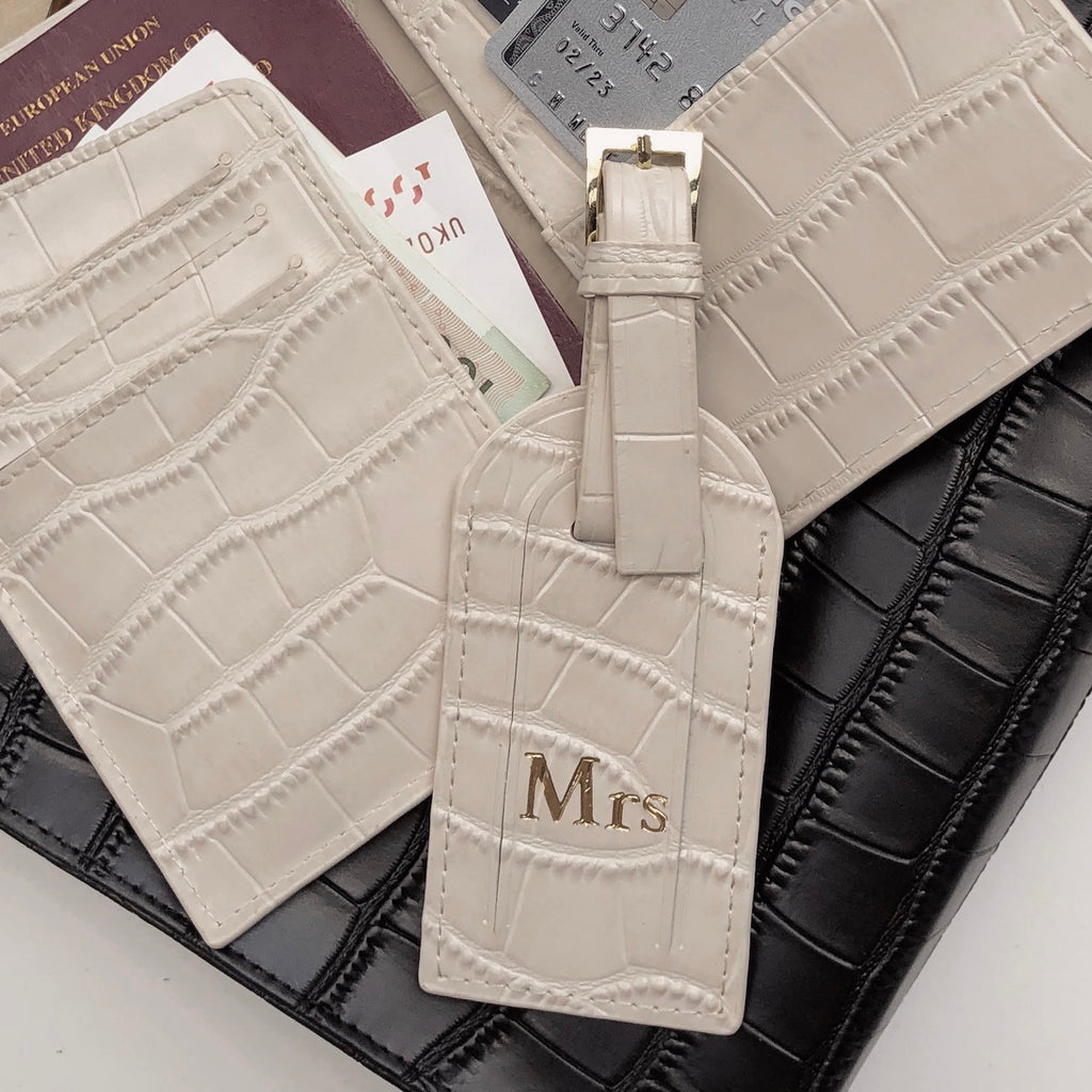 Cream Croc Luggage Tag