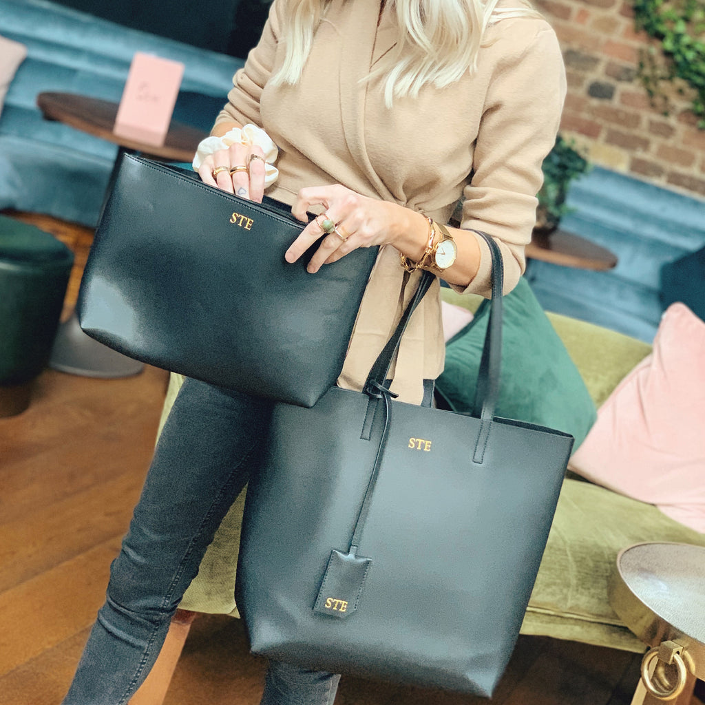 Black Smooth Tall Tote With Large Pouch