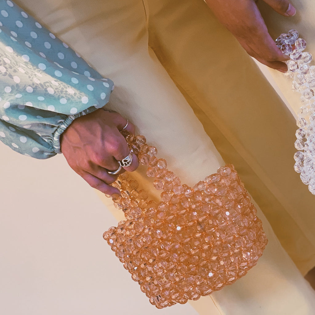 Peach Mini Beaded Bag