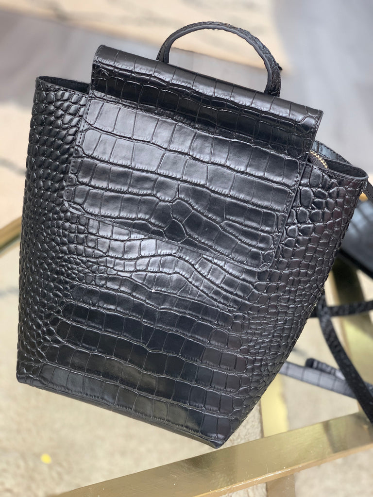 Black Croc Mini City Backpack