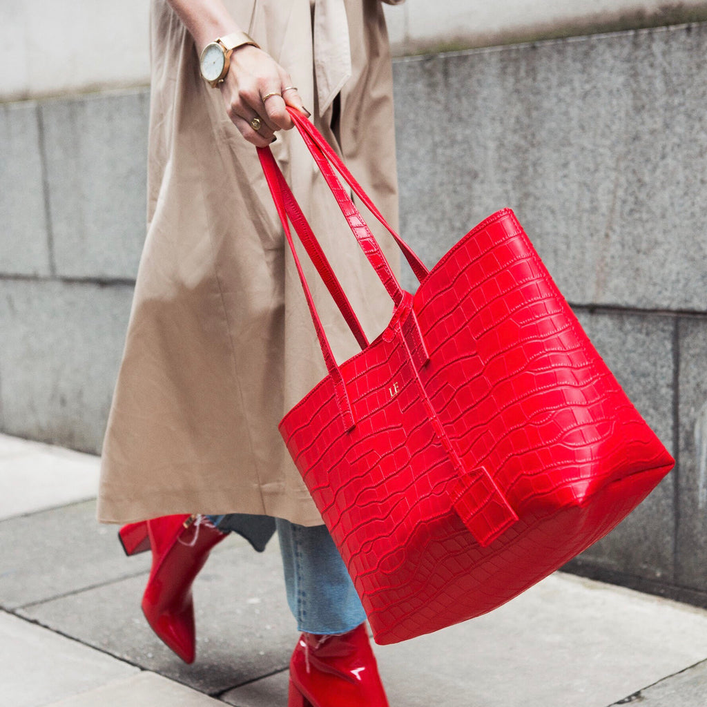 Red Matte Croc Large Tote Bag