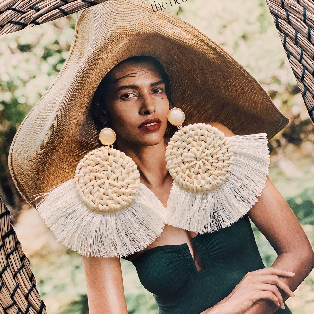 Bogota Tassel Rattan Earrings in Cream