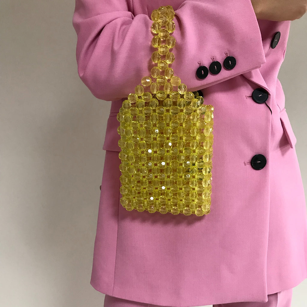 Yellow Mini Beaded Shopper