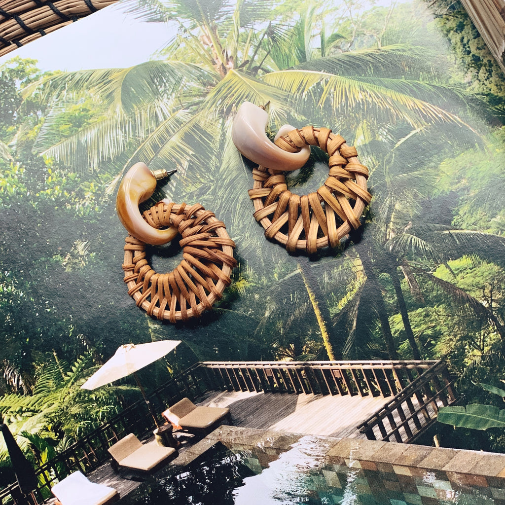 Cartagena Rattan Earrings in Cream