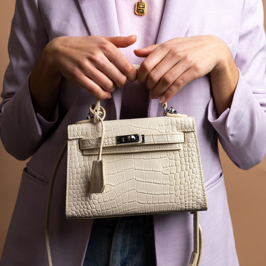 Cream Croc Mini Bag