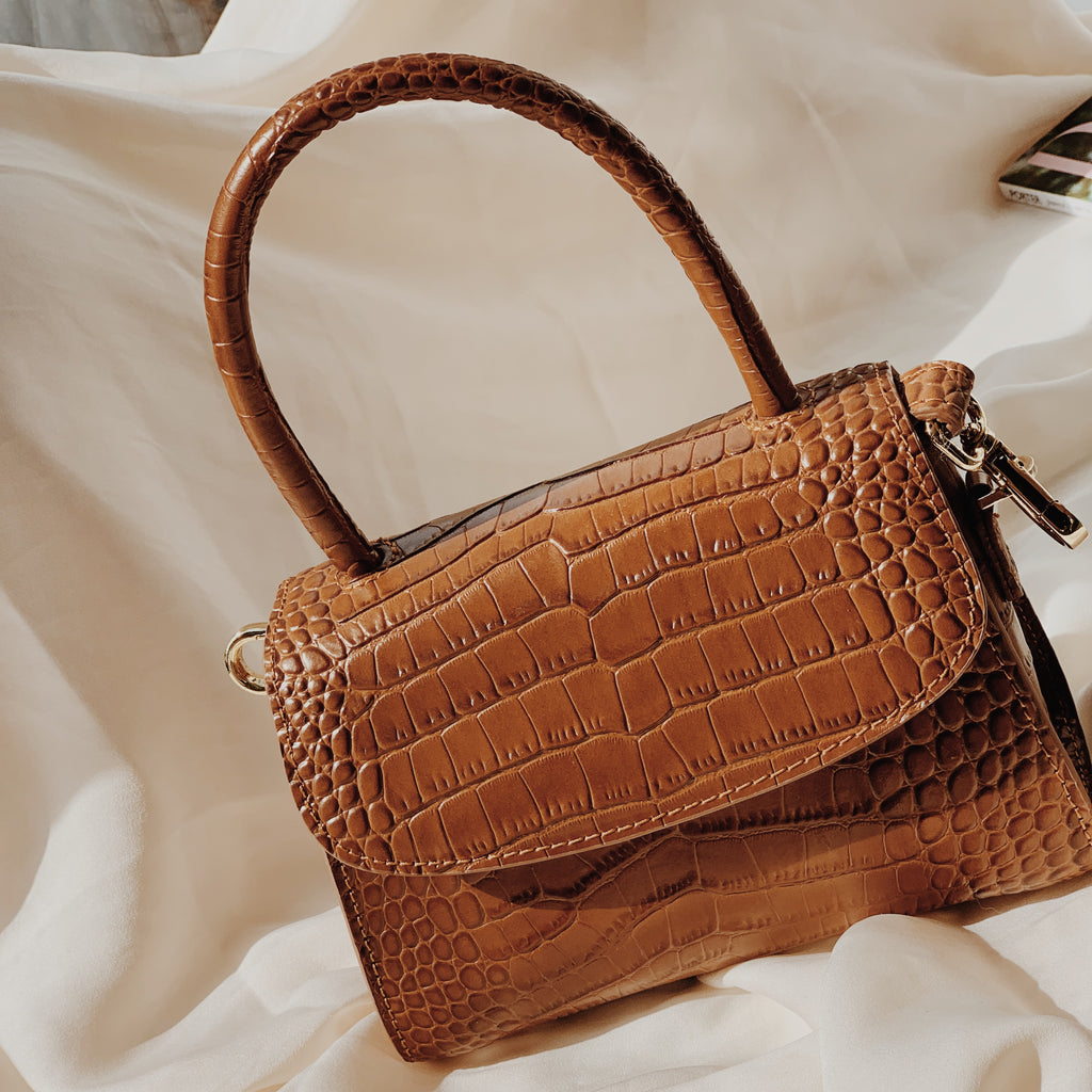 Tan Croc Cross Body Grab Bag