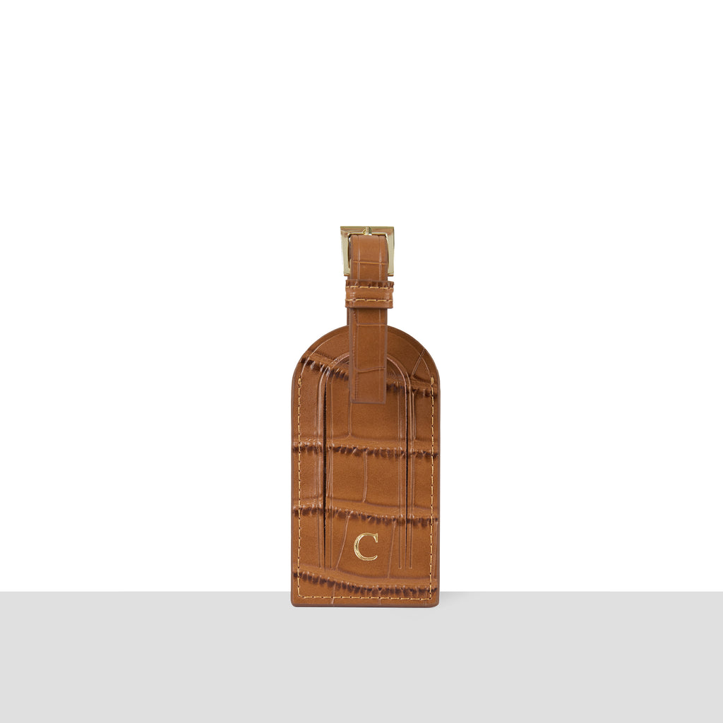 Tan Croc Luggage Tag