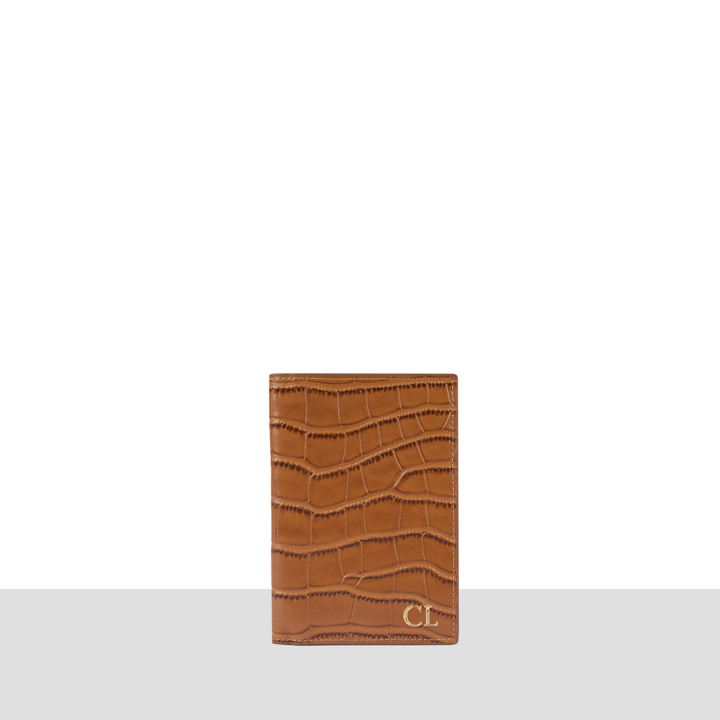 Tan Croc Passport Cover