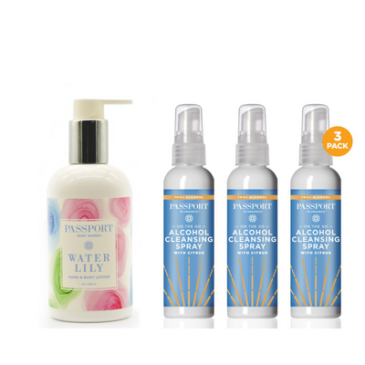 BUNDLE:ON-THE-GO 70% ALCOHOL CLEANSING SPRAY (3 pack) + WATER LILY HAND LOTION