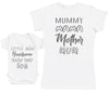 Baby Boy Wording & Mummy Wording Matching Mother Baby Gift Set - Womens T Shirt & Baby Bodysuit