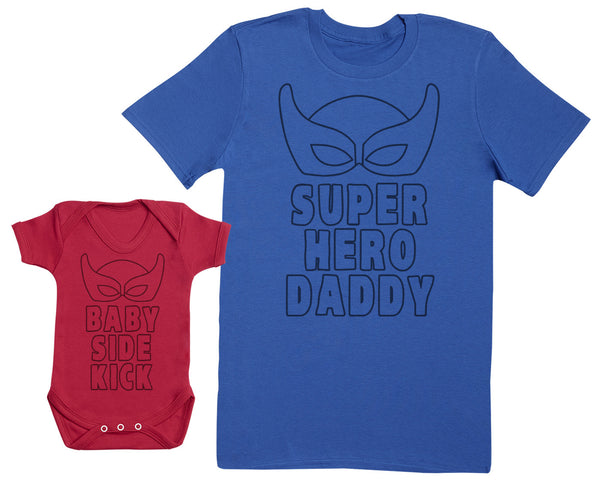 Baby Sidekick & Superhero Daddy Matching Father Baby Gift Set - Mens T Shirt & Baby Bodysuit