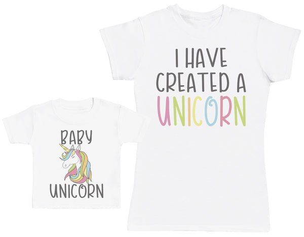 Baby Unicorn Matching Mother Baby Gift Set - Womens T Shirt & Baby T Shirt