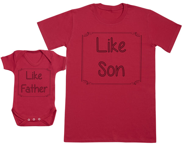 Like Father & Like Son Matching Father Baby Gift Set - Mens T Shirt & Baby Bodysuit