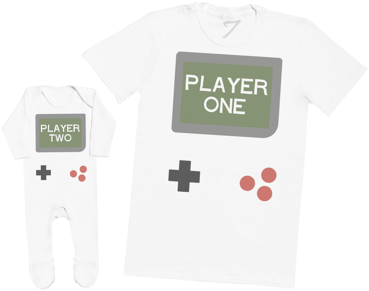 Gamer Player One & Player Two - Mens T Shirt & Baby Romper