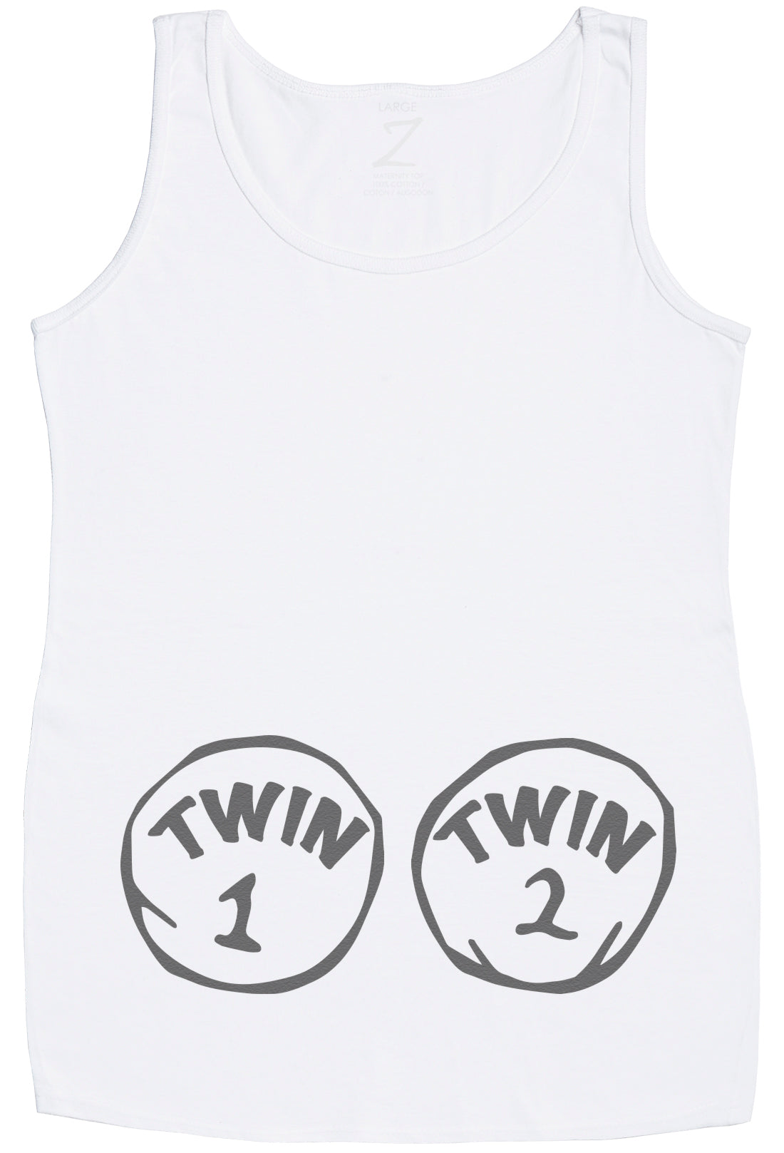 4cf2ea159cf44 Twin 1 Twin 2 Maternity Vest Top - Maternity Clothing - Maternity Gift -  Gift for Mum To Be - White