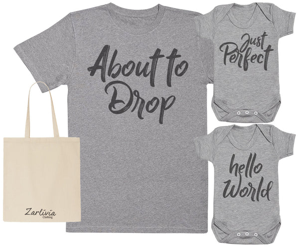 About To Drop Maternity Hospital Gift Set Bag with Hospital T-Shirt & New Baby Bodysuit
