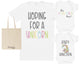 Unicorn Maternity Hospital Gift Set Bag with Hospital T-Shirt & New Baby Bodysuit