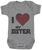 I Love My Sister Star Heart - Baby Bodysuit