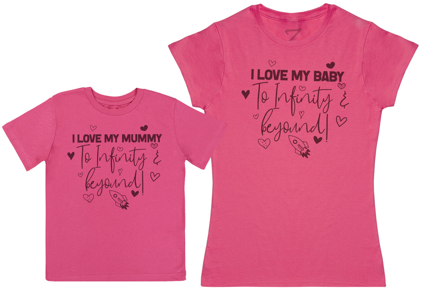 I Love My Mummy & Baby To Infinity & Beyond - Kid's Gift Set with Kid's T-Shirt & Mother's T-Shirt