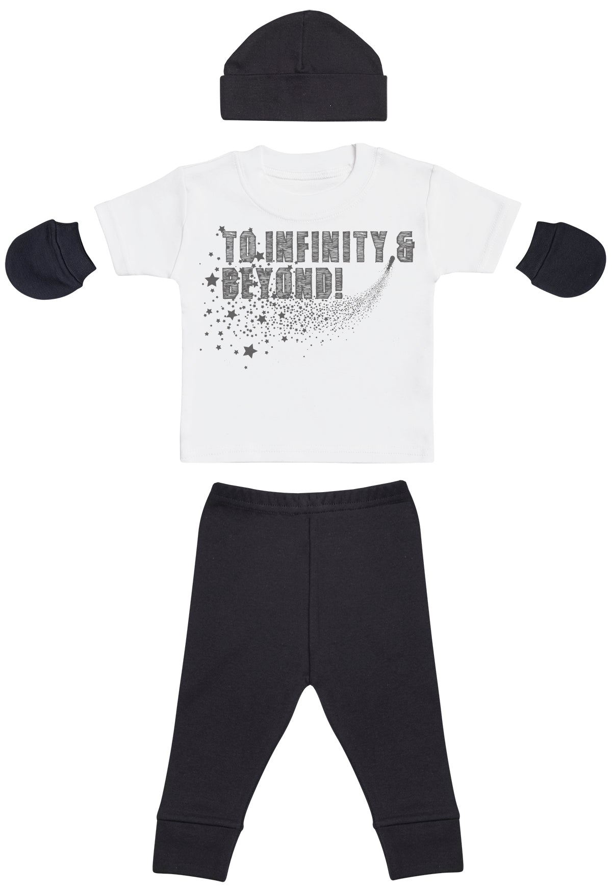 To Infinity & Beyond, White Baby T-Shirt, Black Baby Bottoms, Black Baby Mittens, Black Baby Bean Hat, Baby Outfit Gift Set