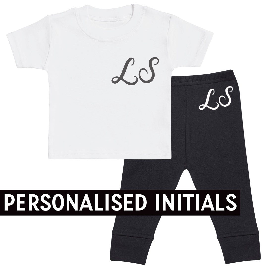 PERSONALISED Scripted Initials, White Baby T-Shirt Outfit