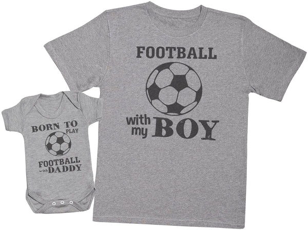 Born To Play Football With Daddy Matching Father Baby Gift Set - Mens T Shirt & Baby Bodysuit