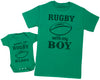 Born To Play Rugby With Daddy Matching Father Baby Gift Set - Mens T Shirt & Baby Bodysuit