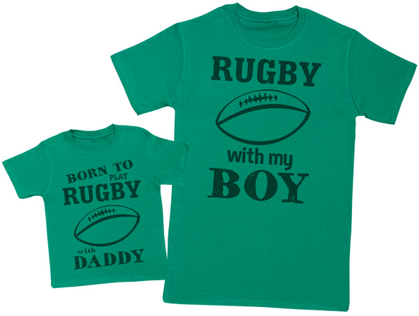 Born To Play Rugby With Daddy Matching Father Baby Gift Set - Mens T Shirt & Baby T-Shirt