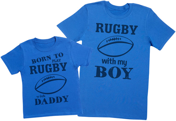 Born To Play Rugby With Daddy Matching Father Kids Gift Set - Mens T Shirt & Kid's T Shirt