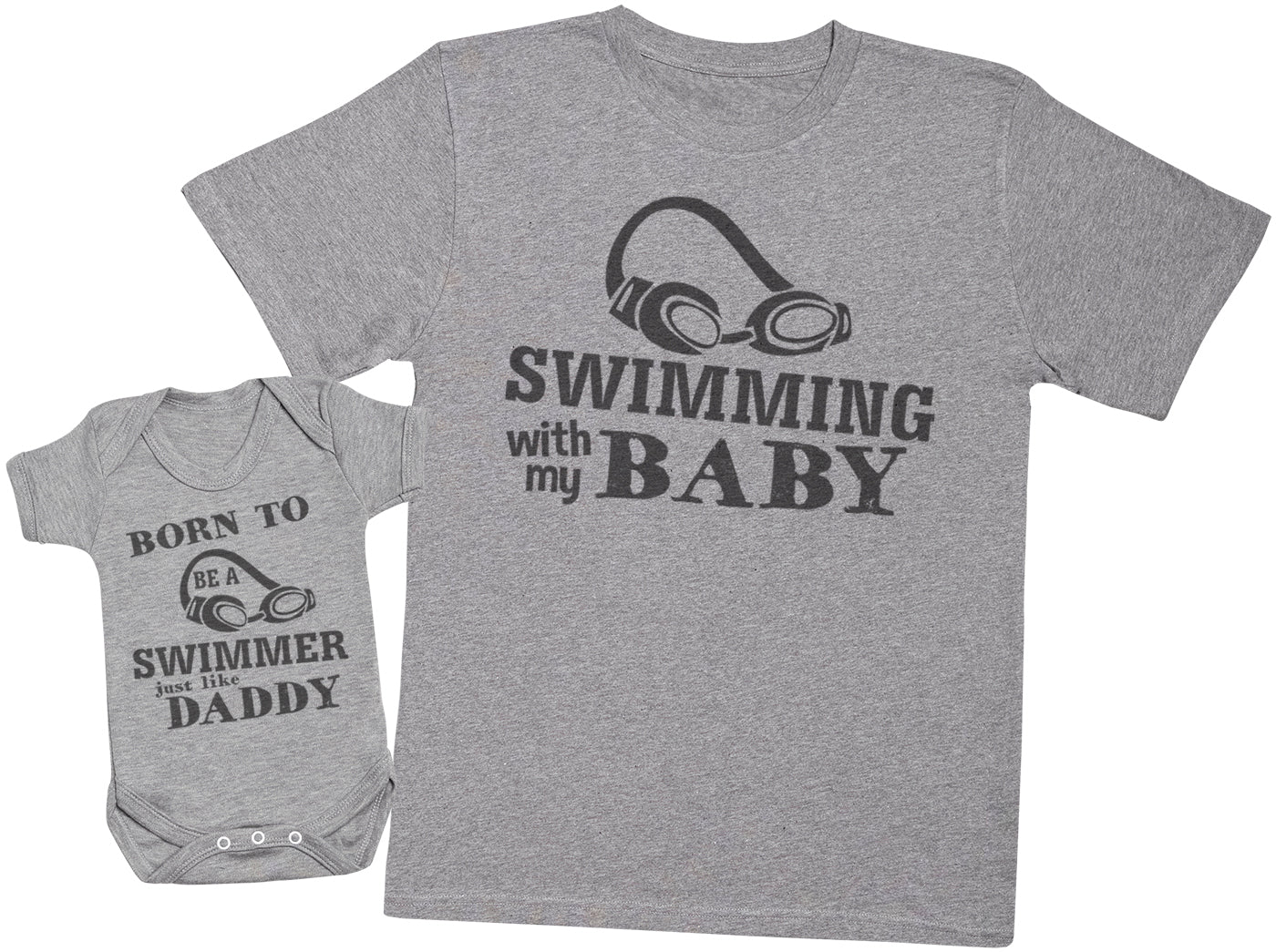 Born To Be A Swimmer Just Like Daddy Matching Father Baby Gift Set - Mens T Shirt & Baby Bodysuit