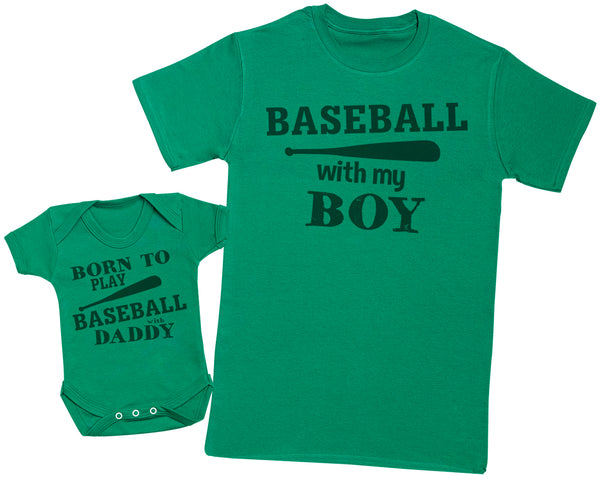 Born To Play Baseball With Daddy Matching Father Baby Gift Set - Mens T Shirt & Baby Bodysuit