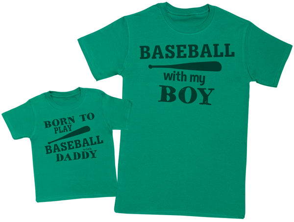 Born To Play Baseball With Daddy Matching Father Baby Gift Set - Mens T Shirt & Baby T-Shirt