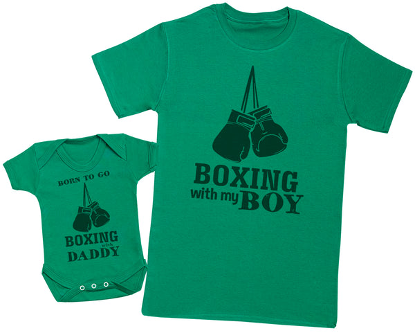 Born To Go Boxing With Daddy Matching Father Baby Gift Set - Mens T Shirt & Baby Bodysuit