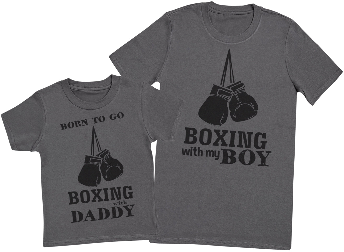 Born To Go Boxing With Daddy Matching Father Kids Gift Set - Mens T Shirt & Kid's T Shirt