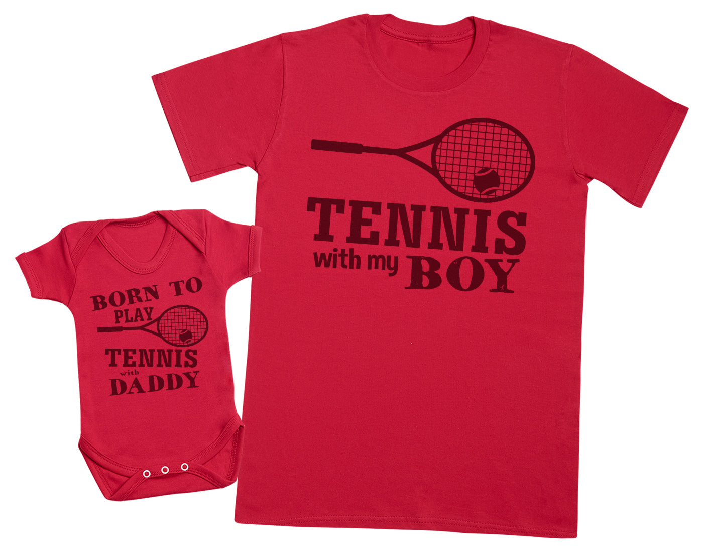 Born To Play Tennis With Daddy Matching Father Baby Gift Set - Mens T Shirt & Baby Bodysuit