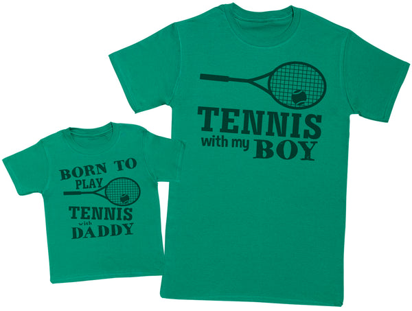 Born To Play Tennis With Daddy Matching Father Baby Gift Set - Mens T Shirt & Baby T-Shirt