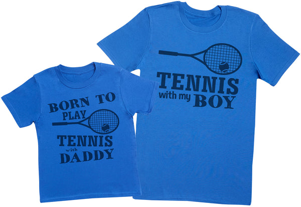 Born To Play Tennis With Daddy Matching Father Kids Gift Set - Mens T Shirt & Kid's T Shirt