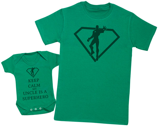 Keep Calm My Uncle Is A Superhero Matching Father Baby Gift Set - Mens T Shirt & Baby Bodysuit