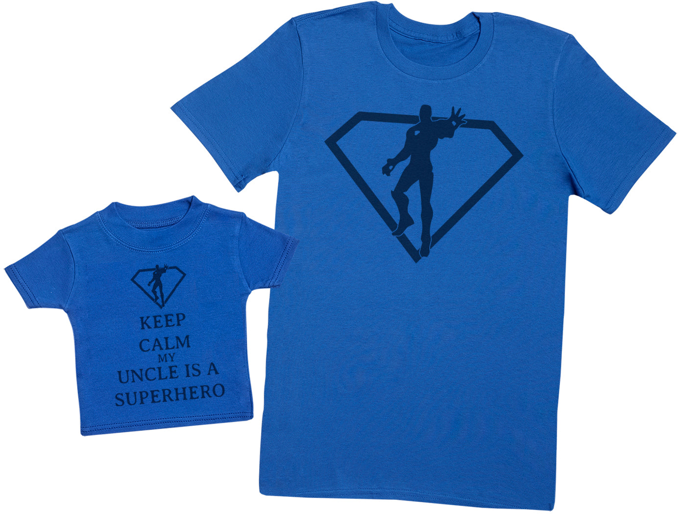 Keep Calm My Uncle Is A Superhero Matching Uncle Baby Gift Set - Mens T Shirt & Baby T - Shirt