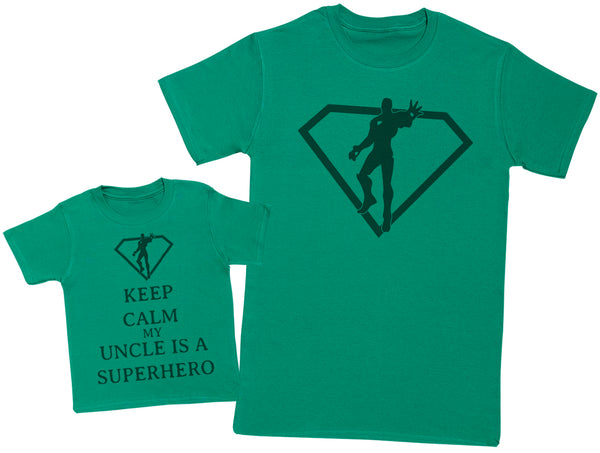 Keep Calm My Uncle Is A Superhero Matching Father Baby Gift Set - Mens T Shirt & Baby T-Shirt