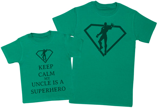 Keep Calm My Uncle Is A Superhero Matching Father Kids Gift Set - Mens T Shirt & Kid's T Shirt