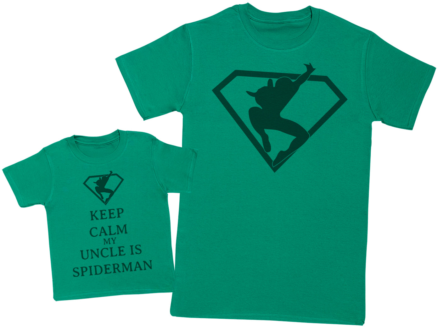 Keep Calm My Uncle Is Spiderman Matching Uncle Baby Gift Set - Mens T Shirt & Baby T - Shirt