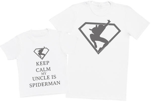 Keep Calm My Uncle Is Spiderman Matching Father Kids Gift Set - Mens T Shirt & Kid's T Shirt