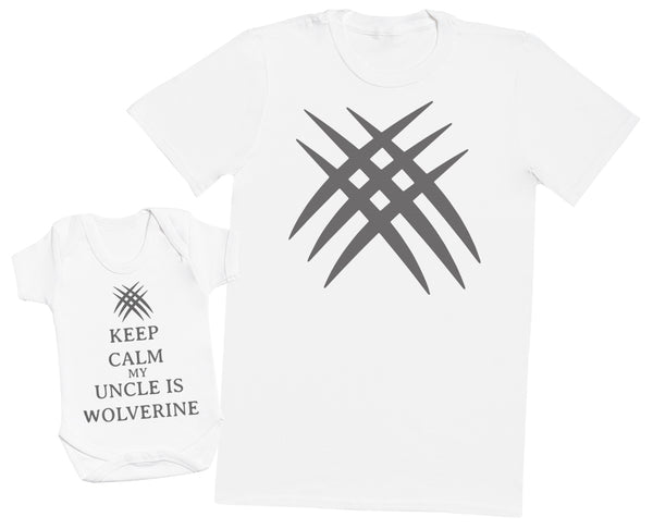 Keep Calm My Uncle Is Wolverine Matching Father Baby Gift Set - Mens T Shirt & Baby Bodysuit