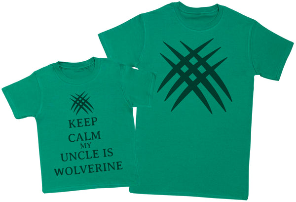 Keep Calm My Uncle Is Wolverine Matching Father Kids Gift Set - Mens T Shirt & Kid's T Shirt